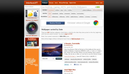 InterfaceLift, sfondi per il desktop in alta risoluzione e icone gratis