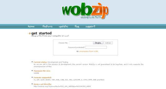 WobZip, decomprimere un file direttamente online