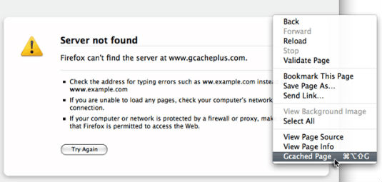 GCache+, un estensione per Firefox che ci consente di vedere i siti non raggiungibili