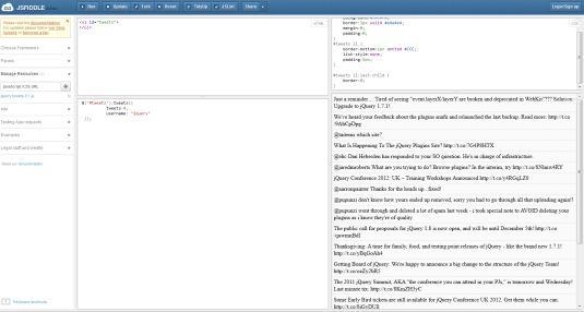 jsFiddle, un parco giochi per sviluppatori web