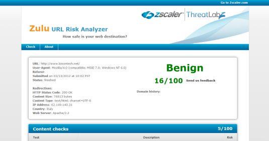 Zulu ZScaler Risk Analyzer, verifica un sito e ci dice se è sicuro oppure no