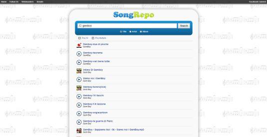 SongRepo un motore di ricerca per musica online