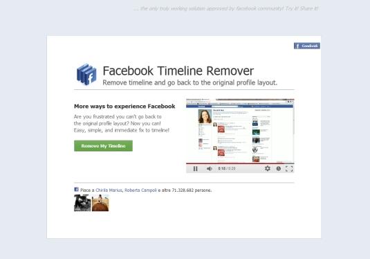 Rimuovere la Facebook Timeline con un click