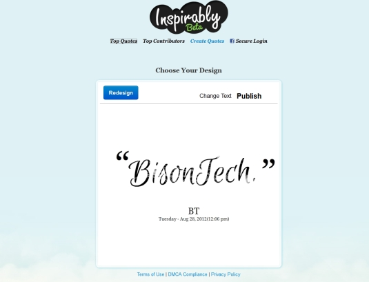 Inspirably.com, trasformiamo un testo in un immagine da condividere con un click…
