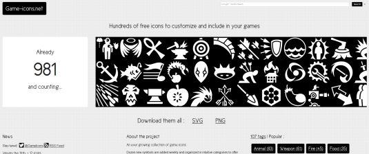 Game-Icons, più di 980 icone per giochi da usare gratis