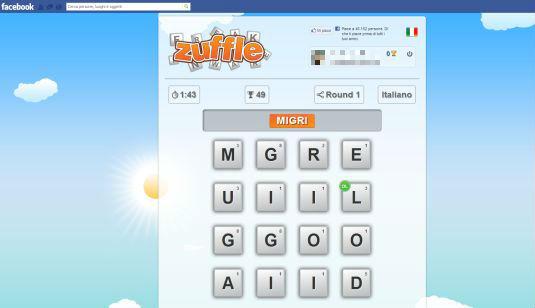 Zuffle, il clone di Ruzzle sta spopolando su Facebook
