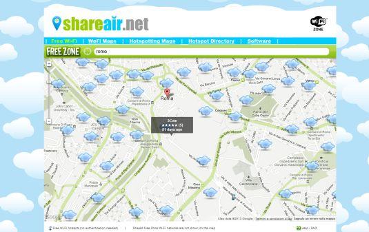 ShareAir, una mappa delle connessioni wi-fi free nel mondo, con un pizzico di social