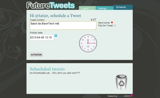 Postiamo i nostri tweet in differita con FutureTweets