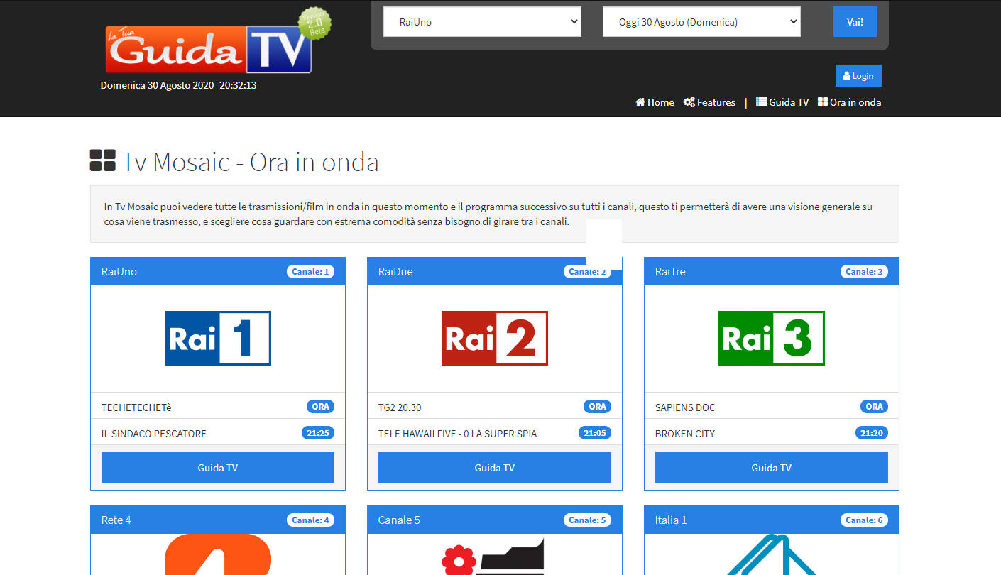 La Tua Guida TV, la programmazione di oltre 50 canali Italiani